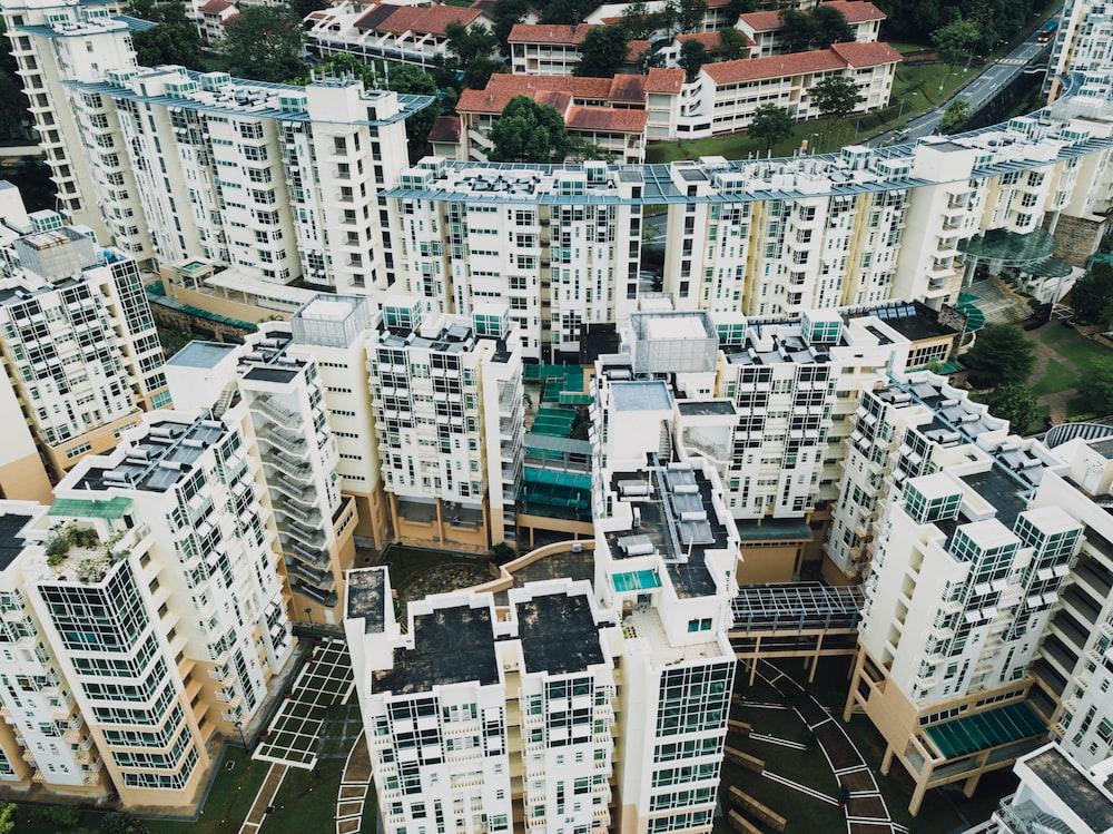 aerial photogrpahy odf high rise buildings