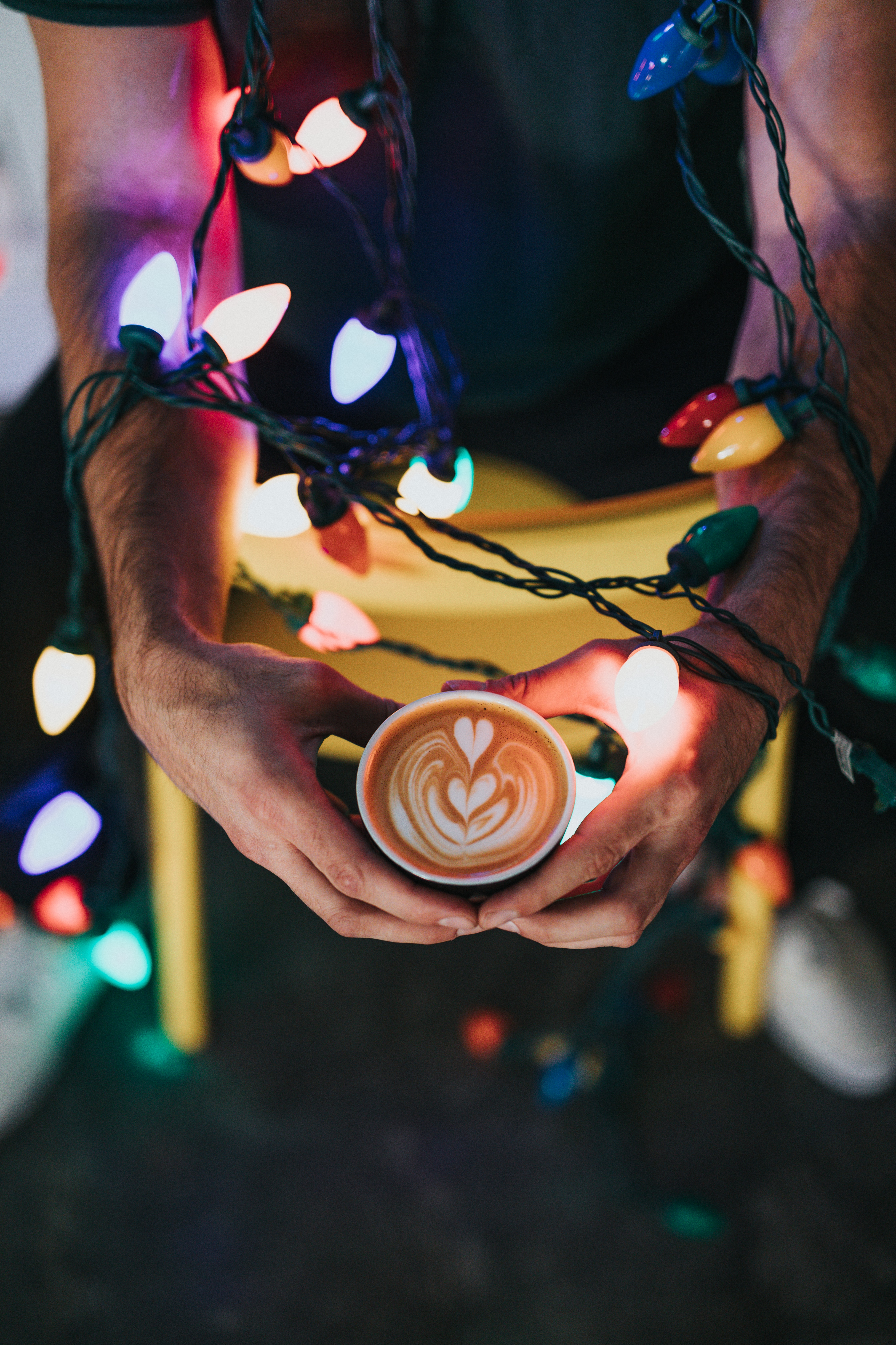 person holding mug with liquor and string light