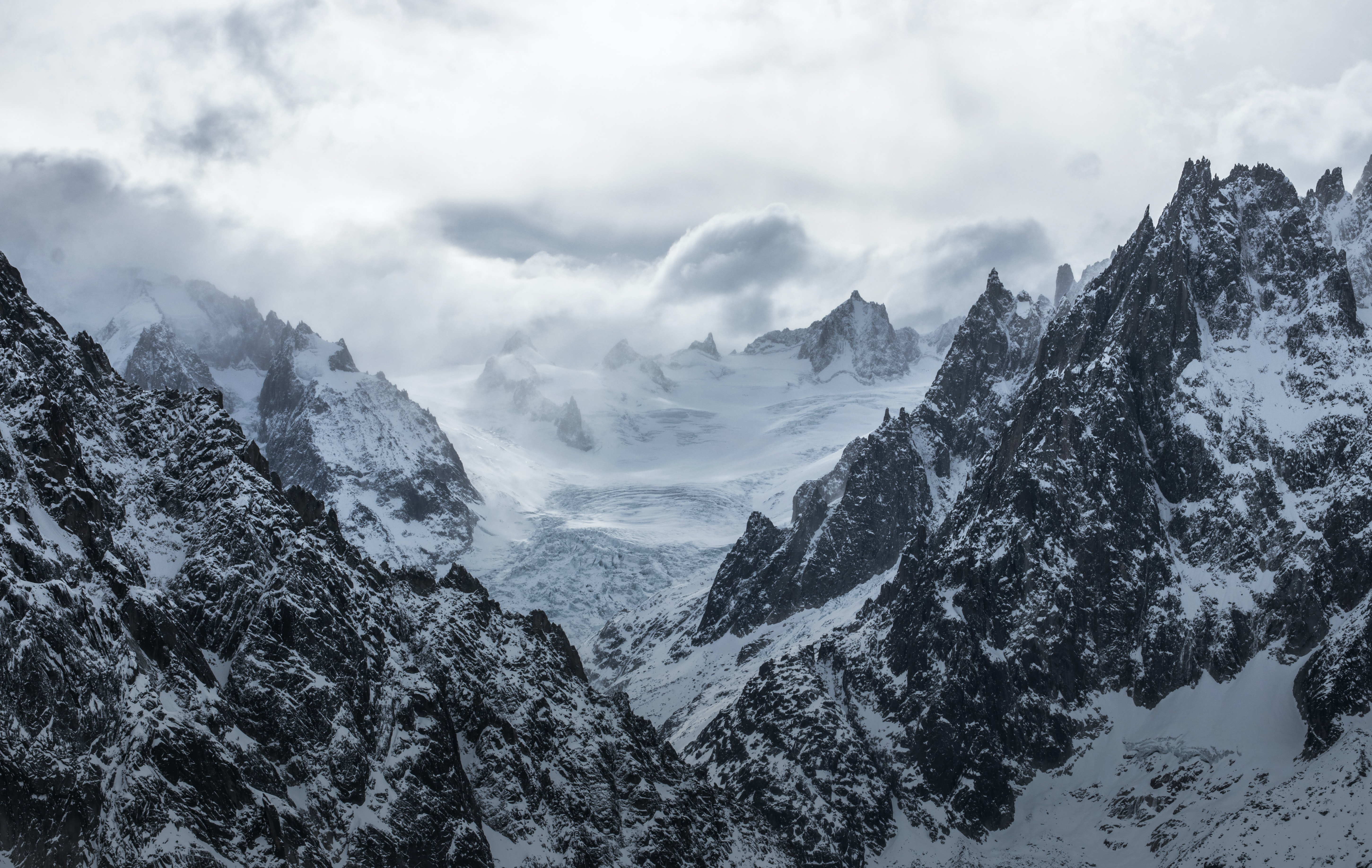 snow covered mountains