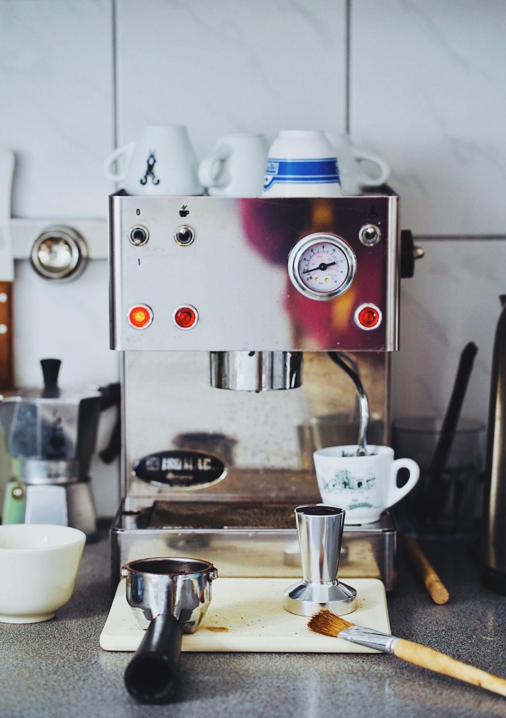 close photography of gray coffeemaker