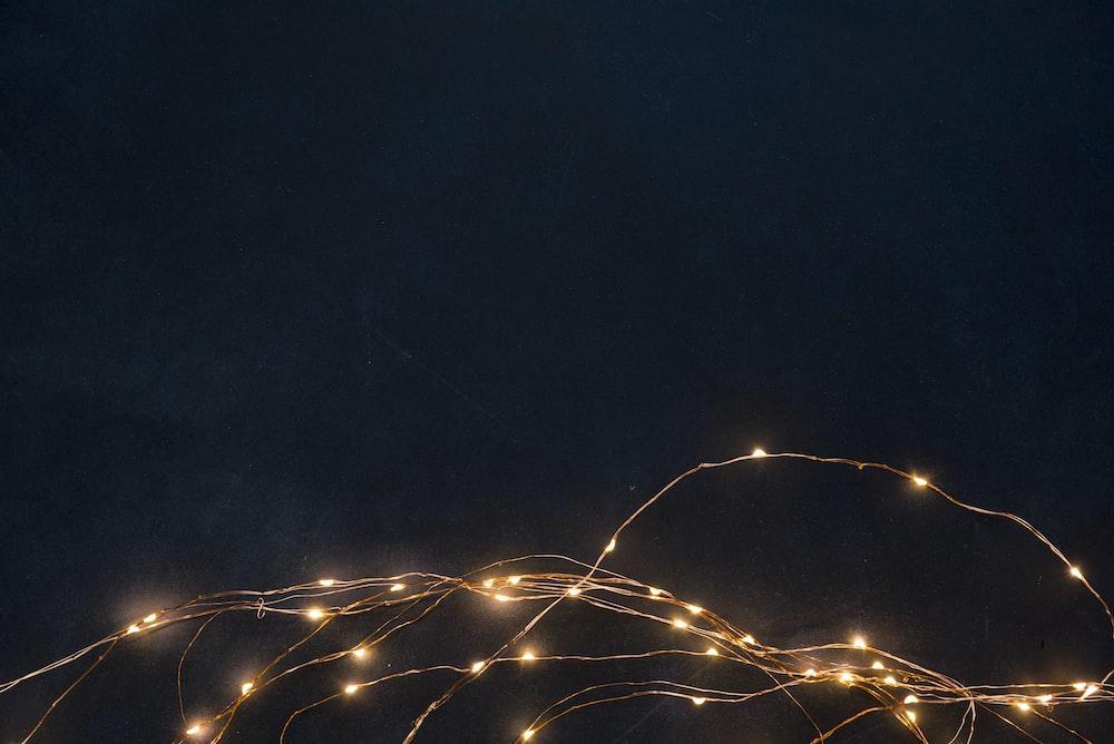 string lights turned on