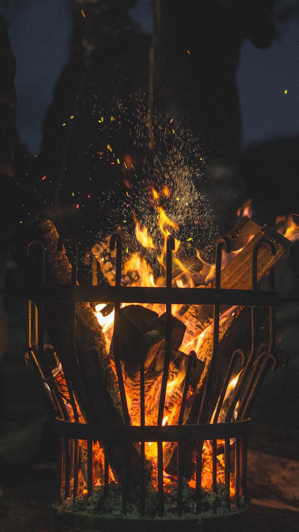 lighted bonfire