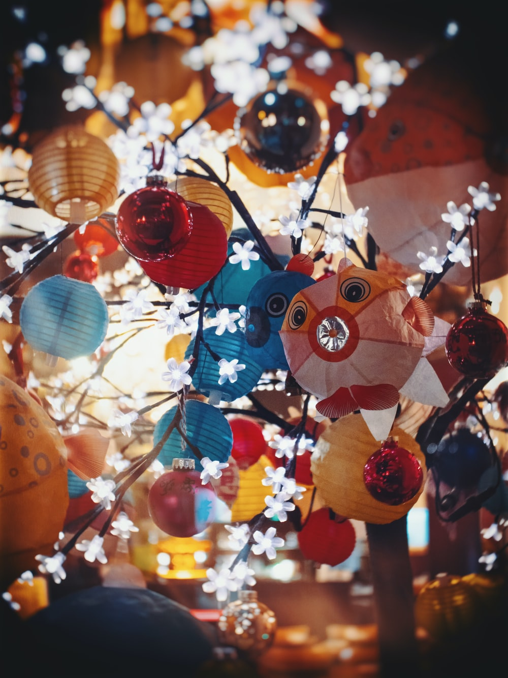 assorted-color paper lanterns hanging on tree