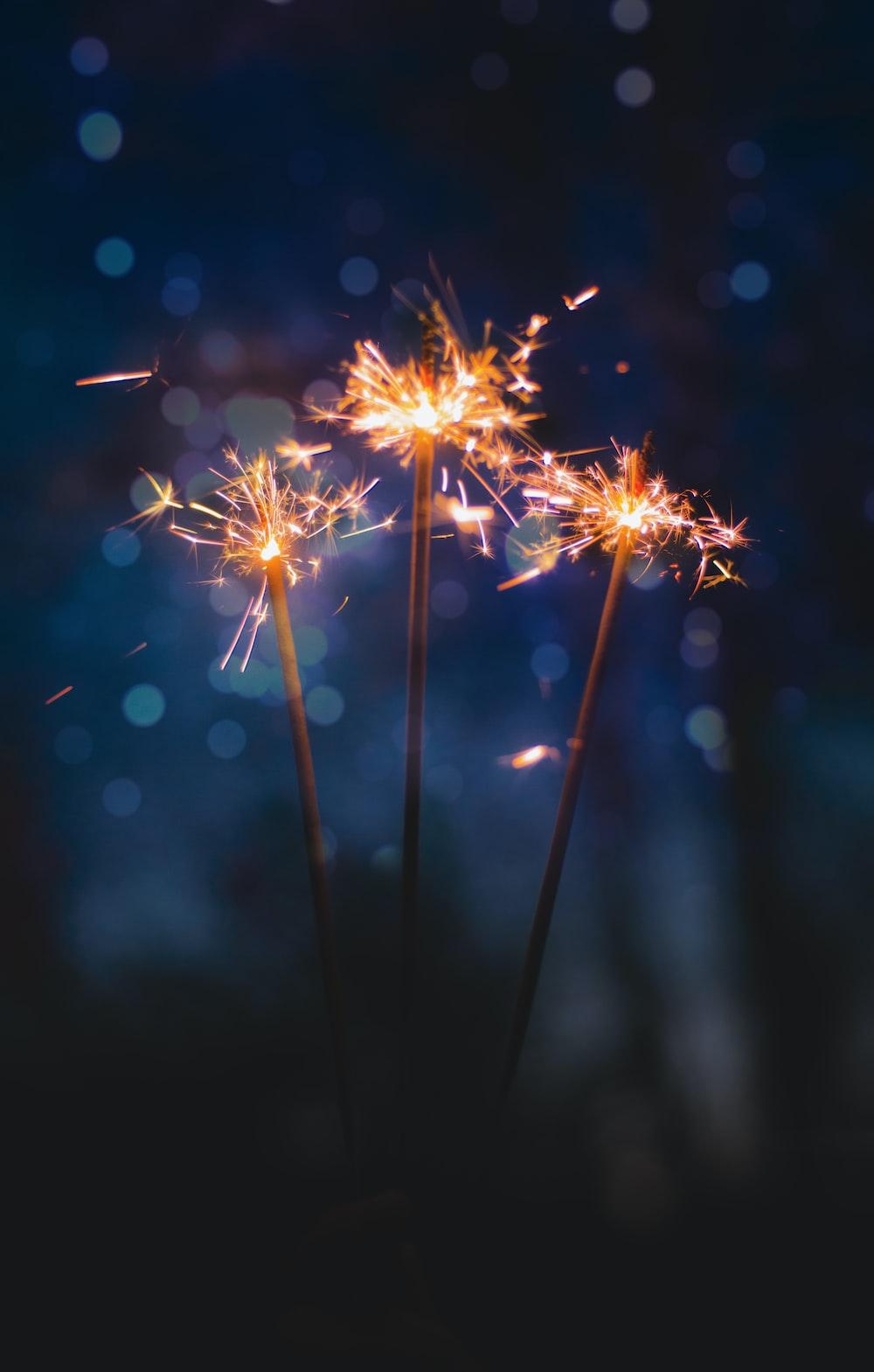 three sparkler sticks