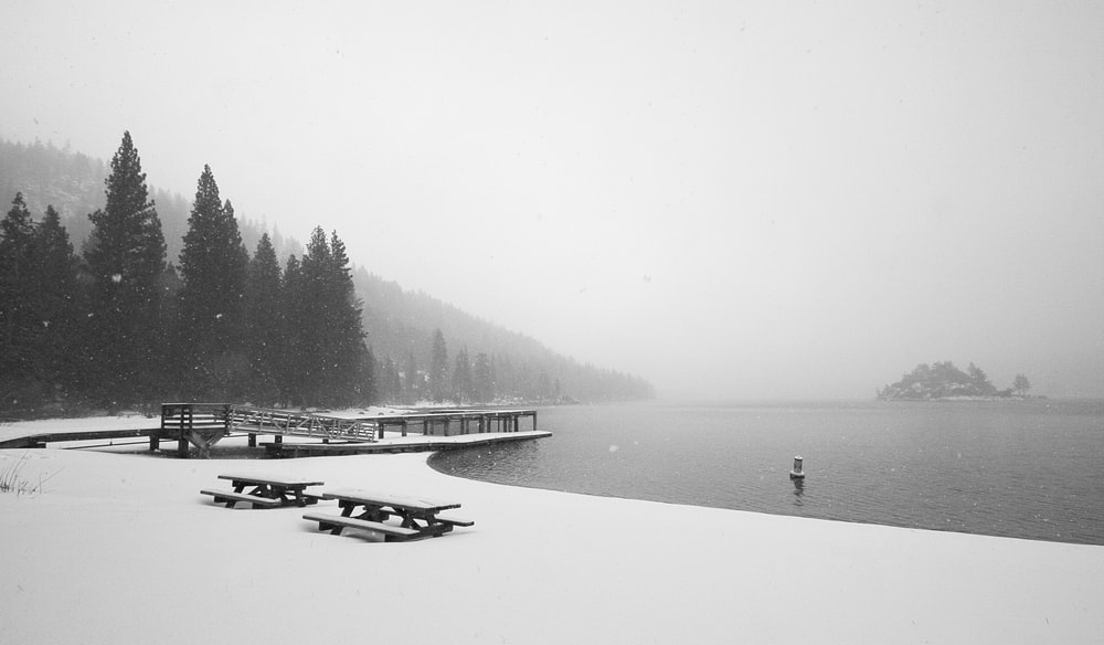 snow-covered picnic bench near body of water