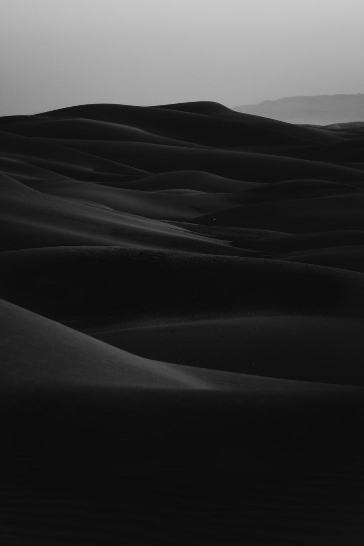 grayscale photo of desert
