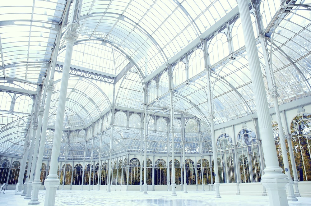 clear glass dome building interior