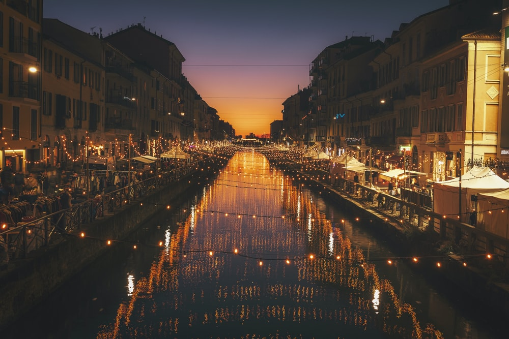 reflective photography of string lights above river