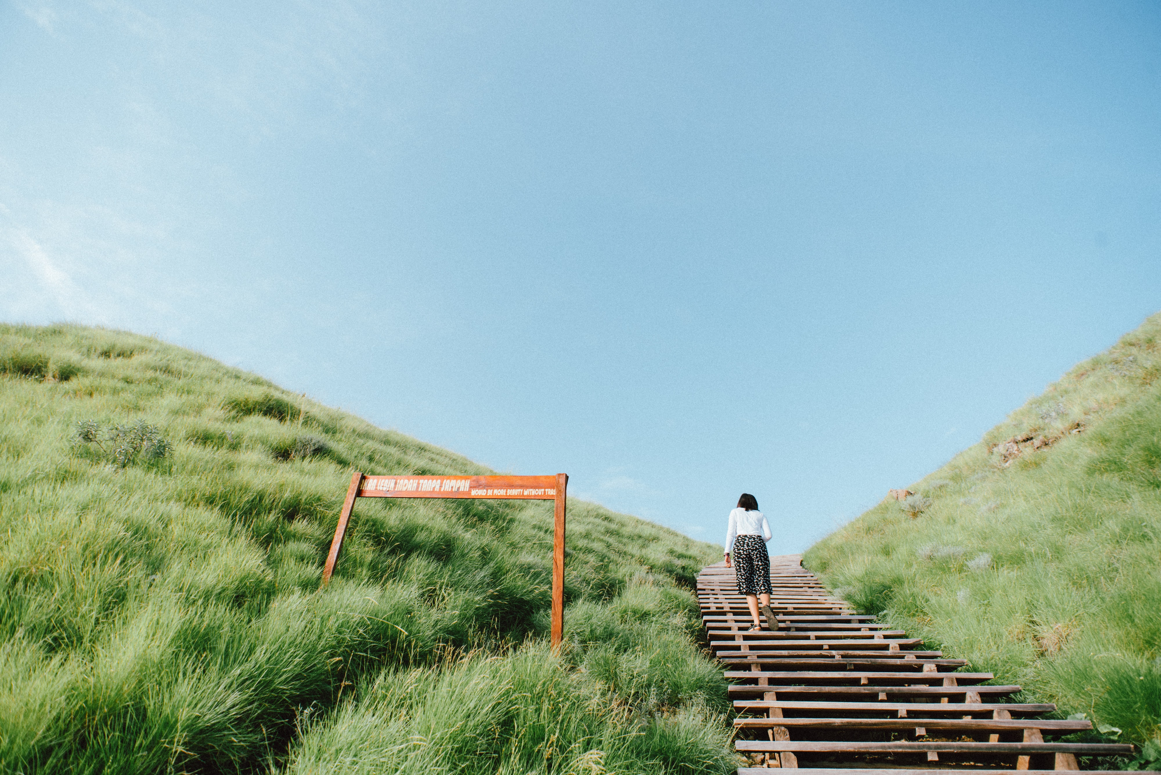 woman walking up on wooden staircase on grass covered mountain during day