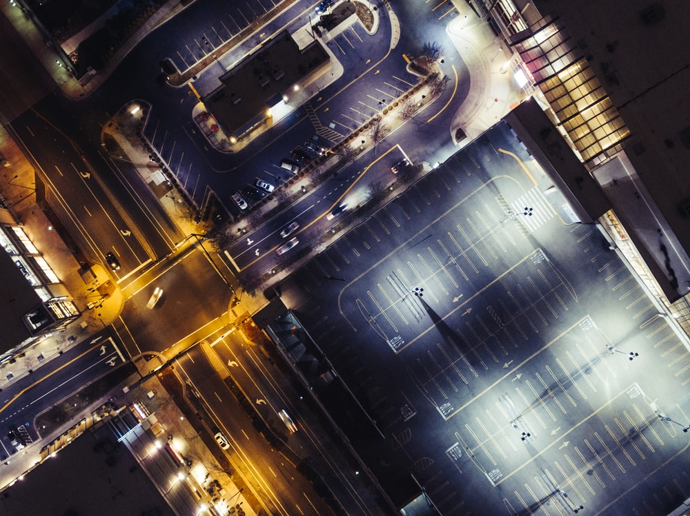 aerial photography of road during night