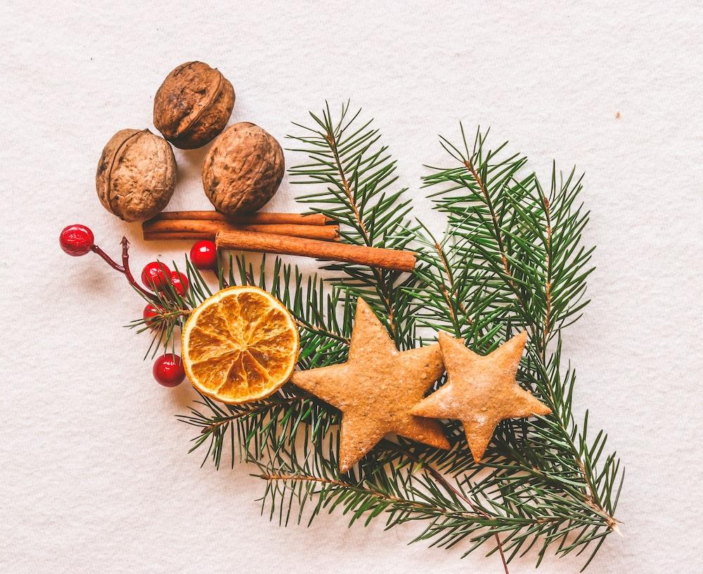brown nuts and star cookies