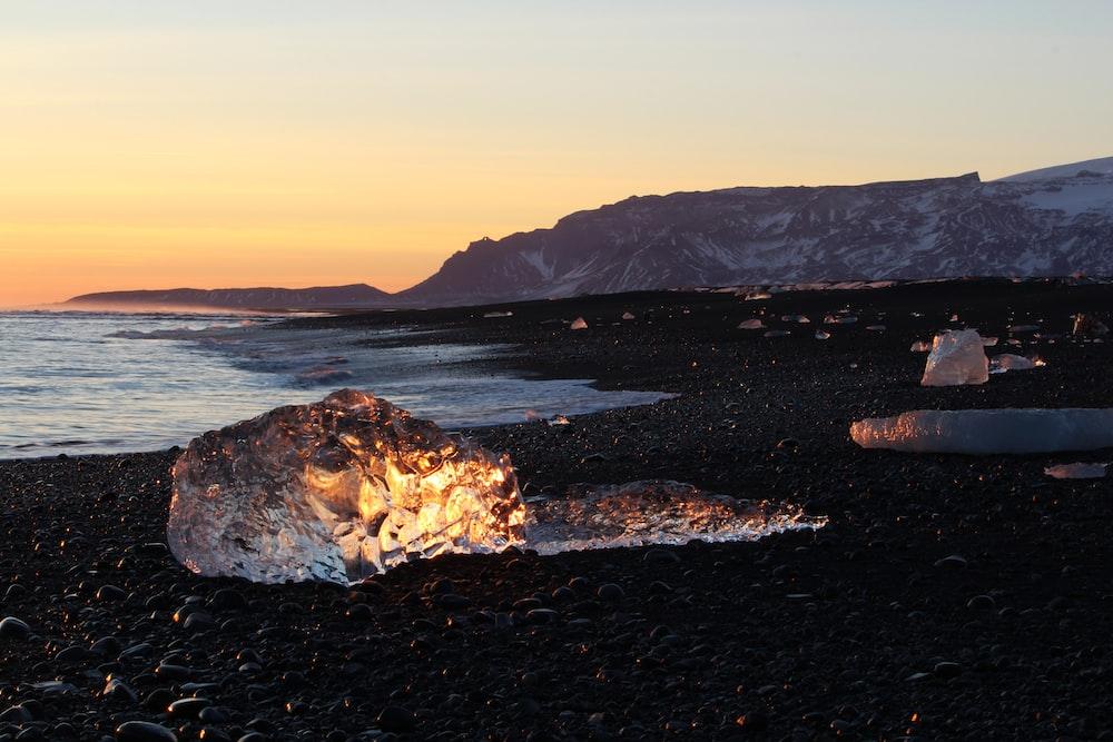 ice fragment near seashore