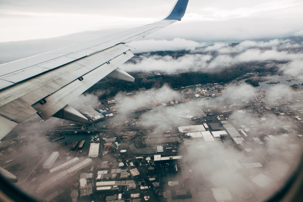 aerial view on a plane