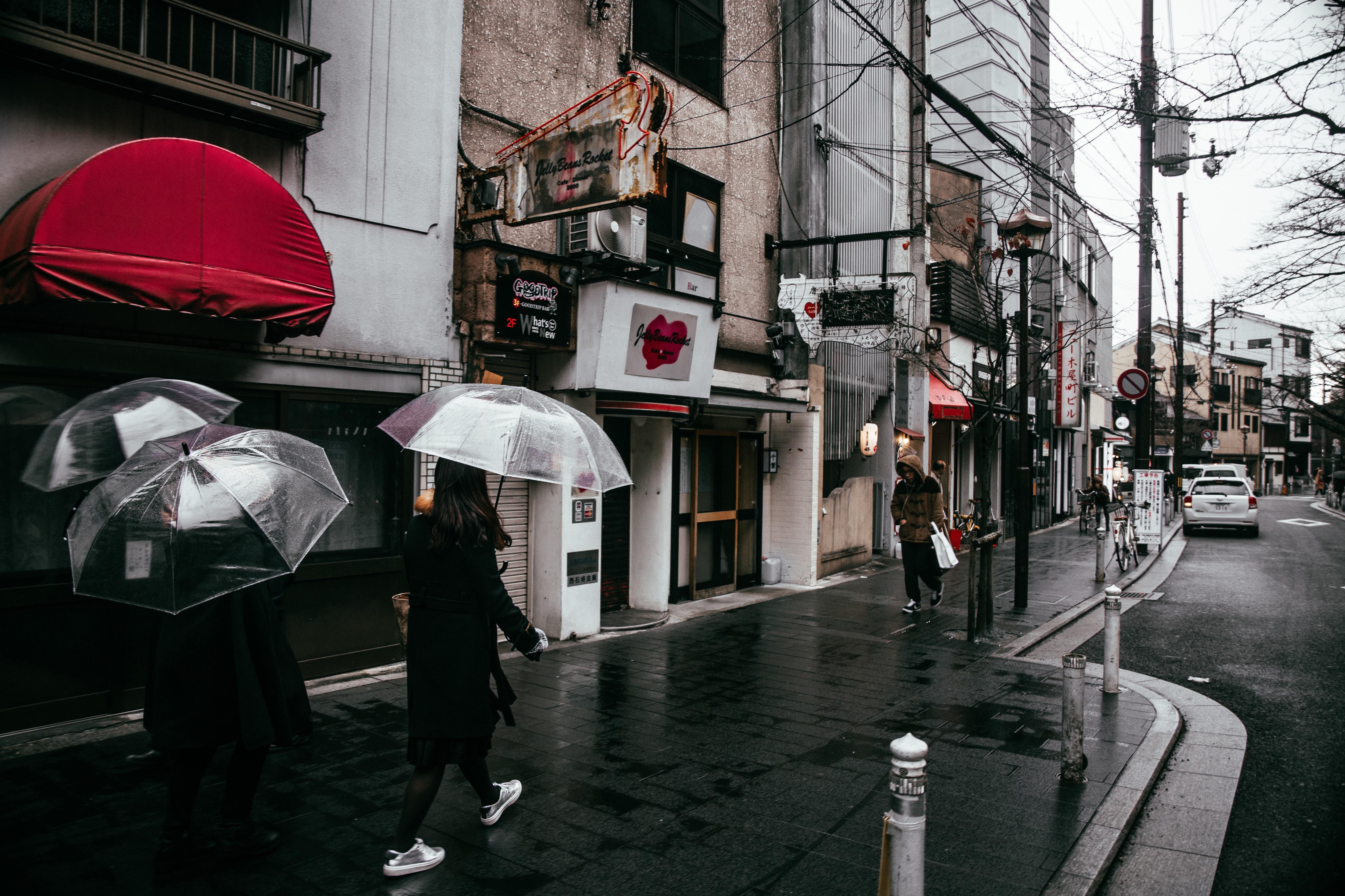 people walking road while raining