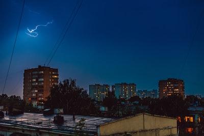 urban city under gray sky during nighttime