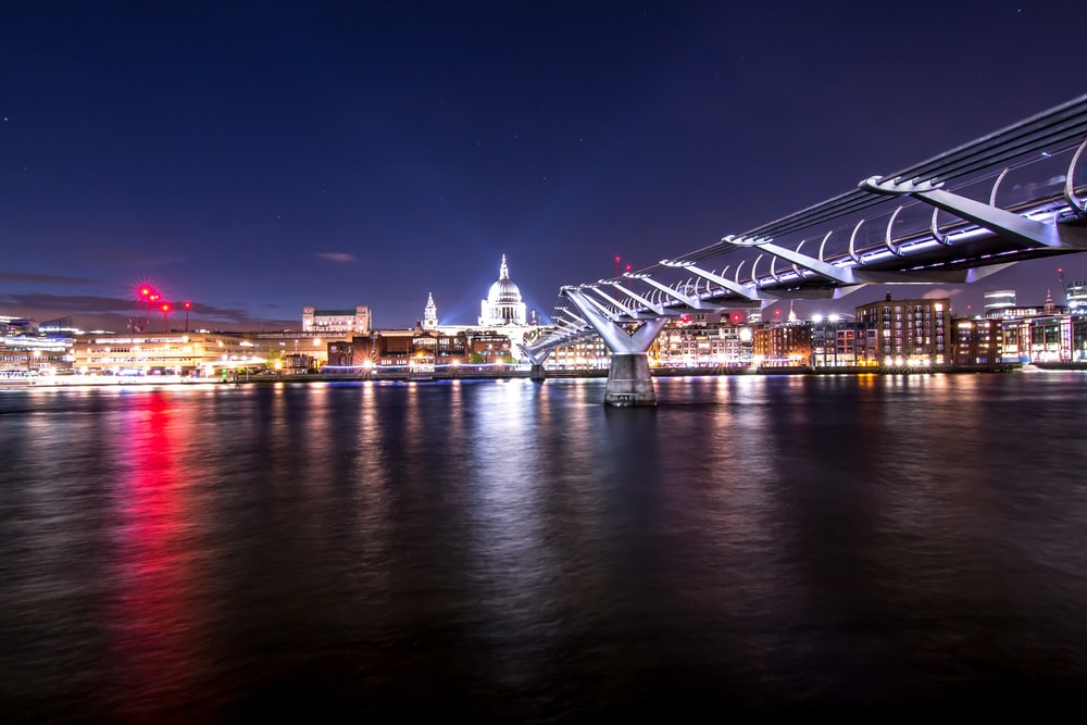 wire bridge near city