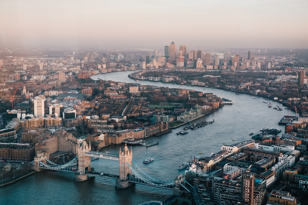 London ariel view with all the boat trips
