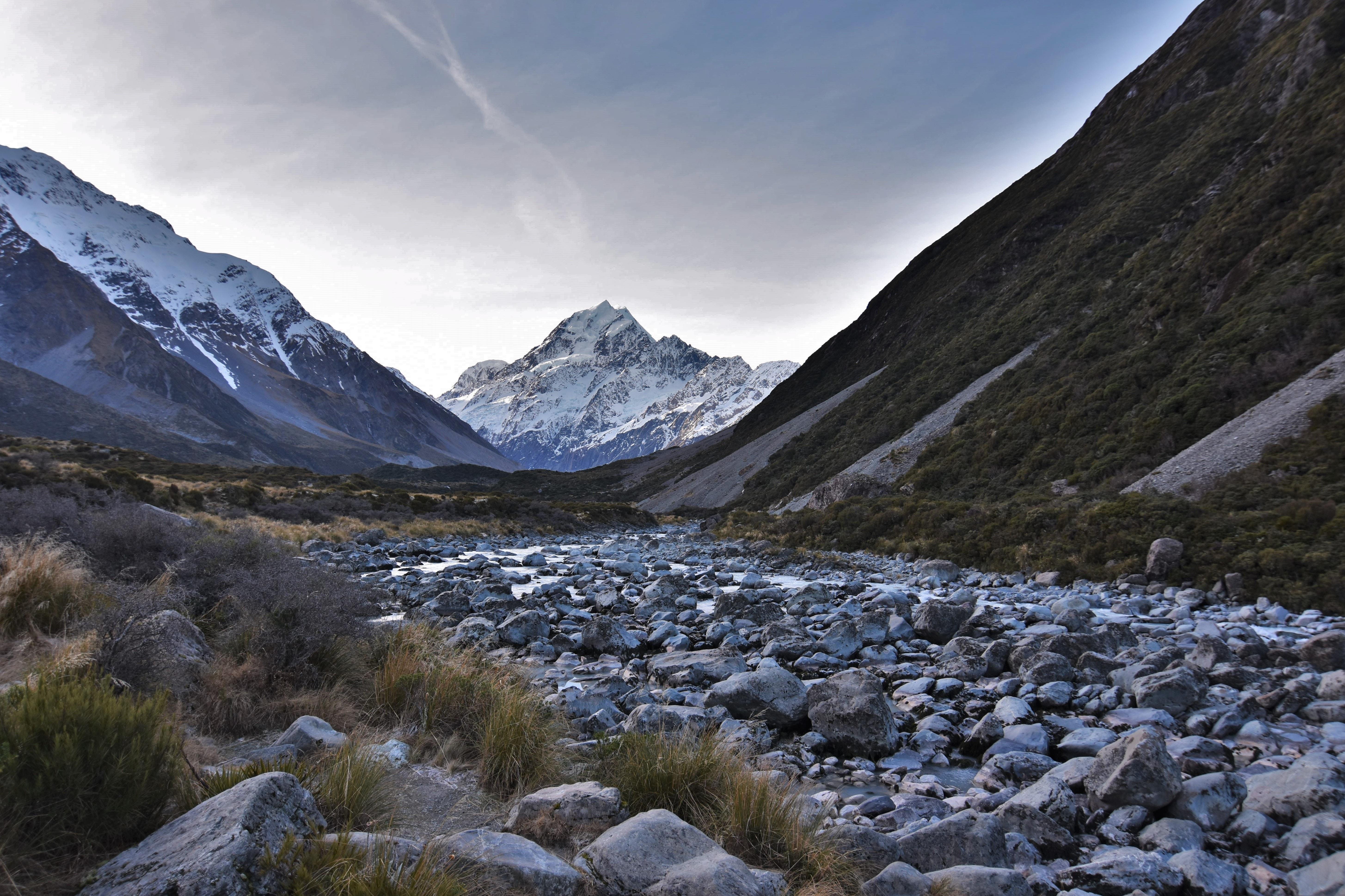 spring river between mountain