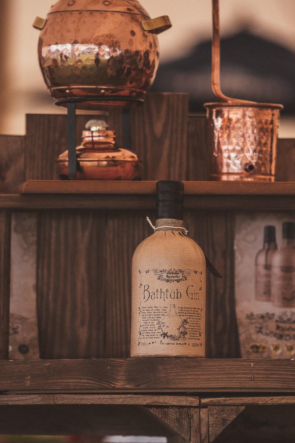 Bathtub Gin bottle on brown wooden surface