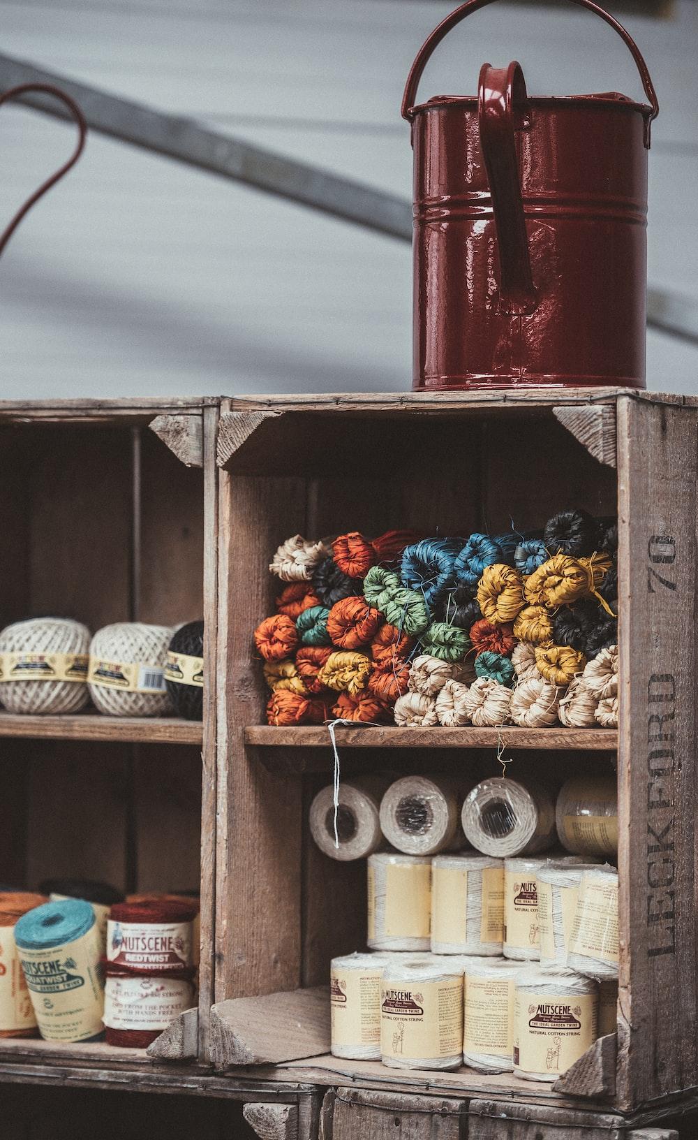 yarns on shelf