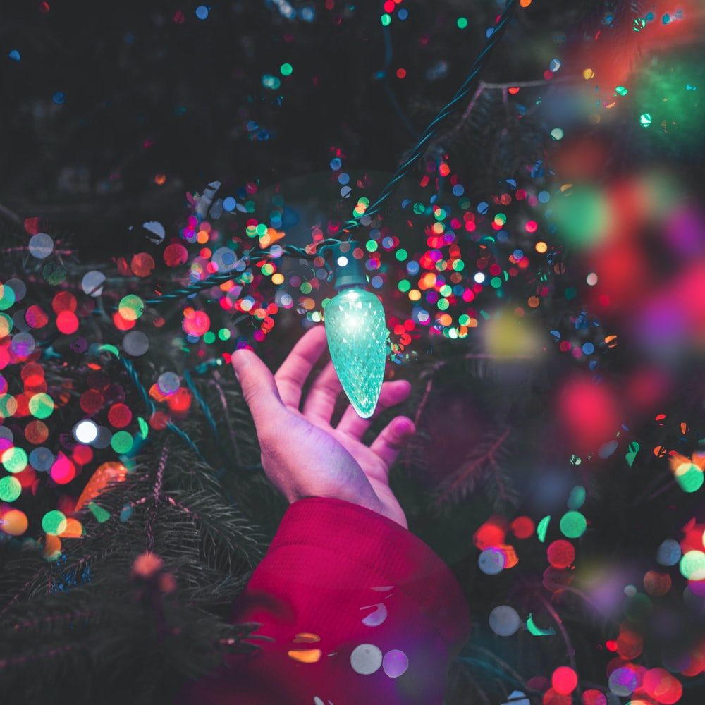 bokeh photography of person holding green string light