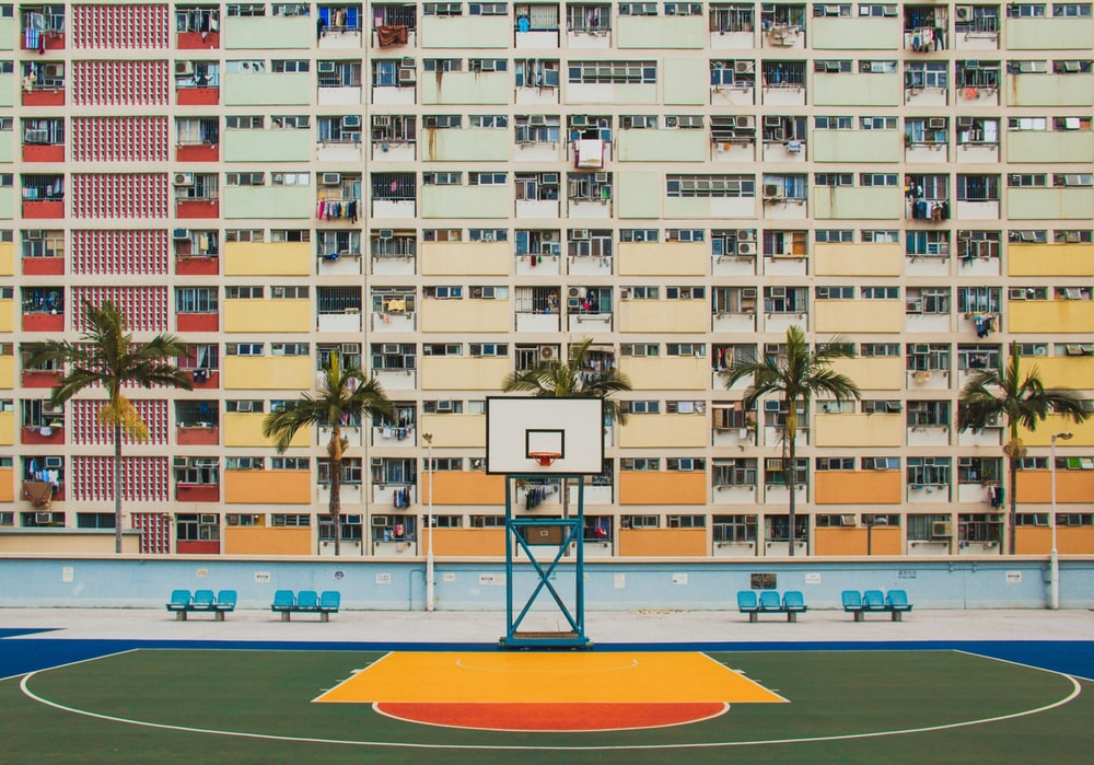building with basketball court