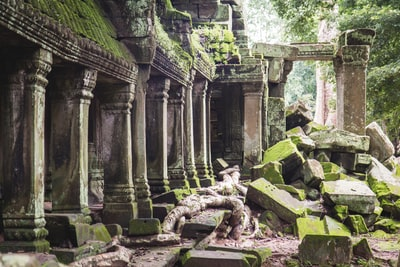 brown concrete ruins during daytime cambodia zoom background