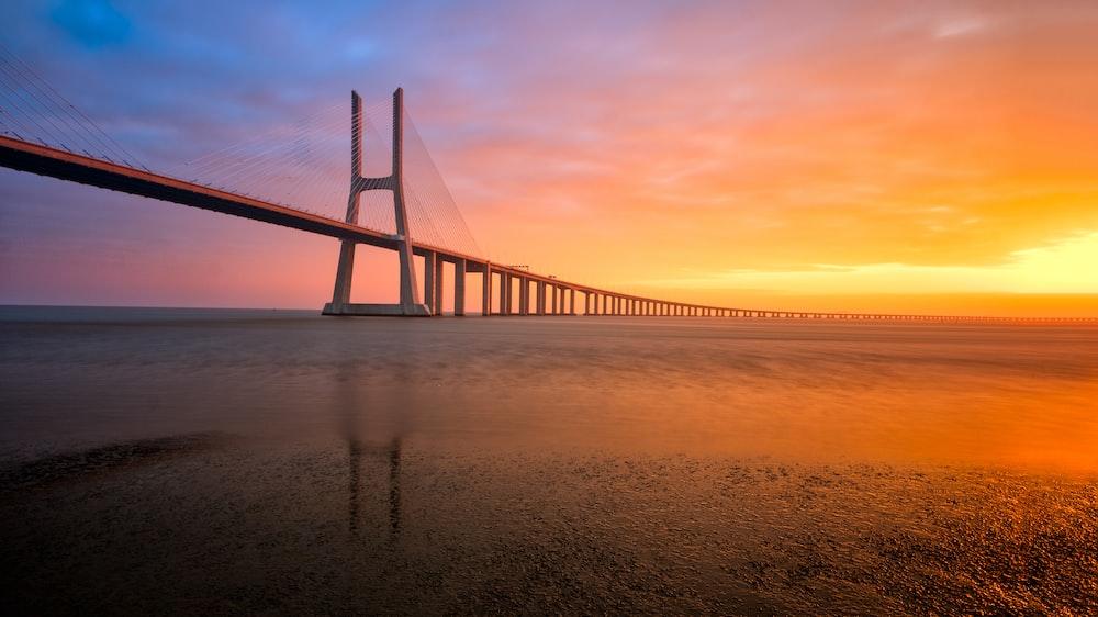bridge scenery during sunset