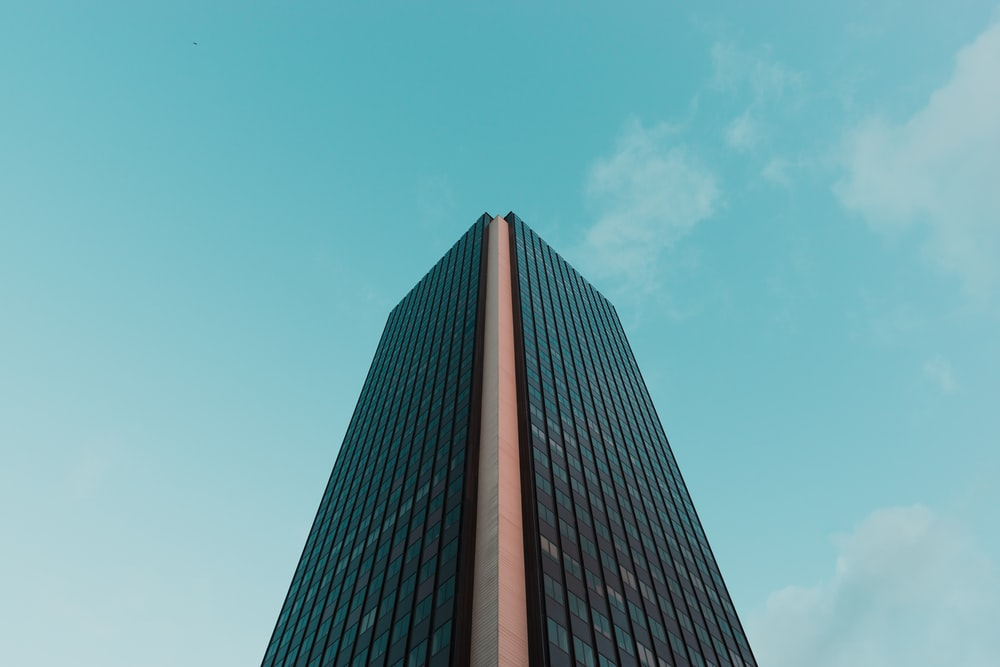 low angle black concrete tower