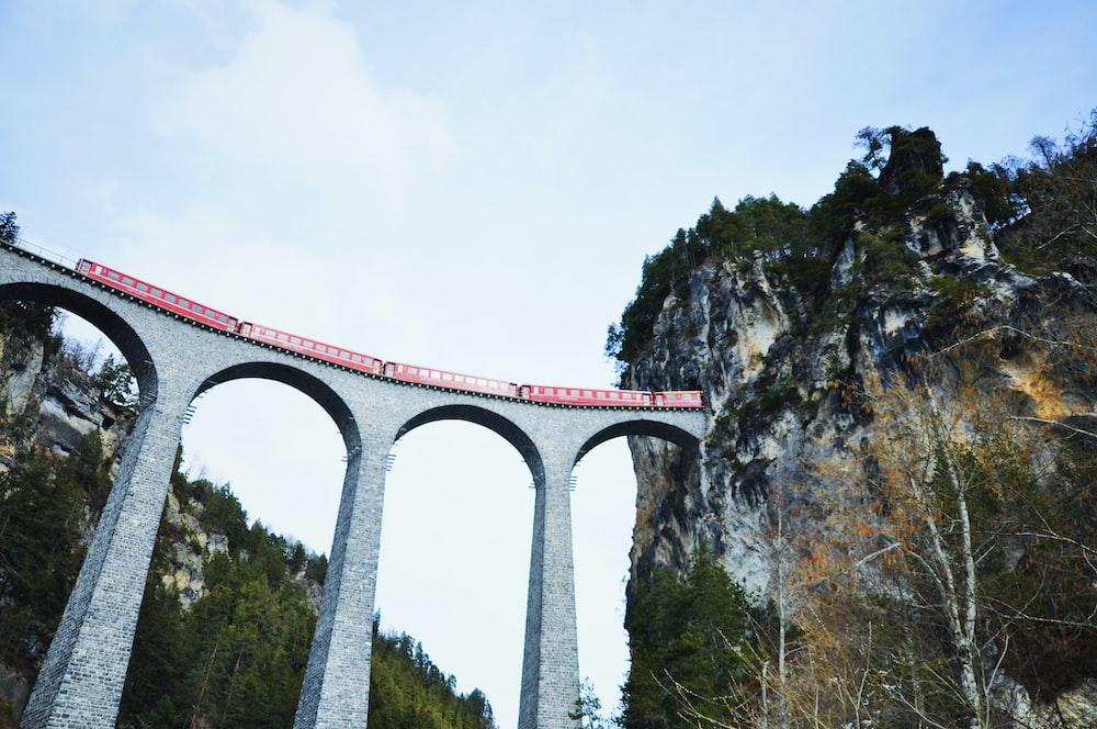 bridge with red train