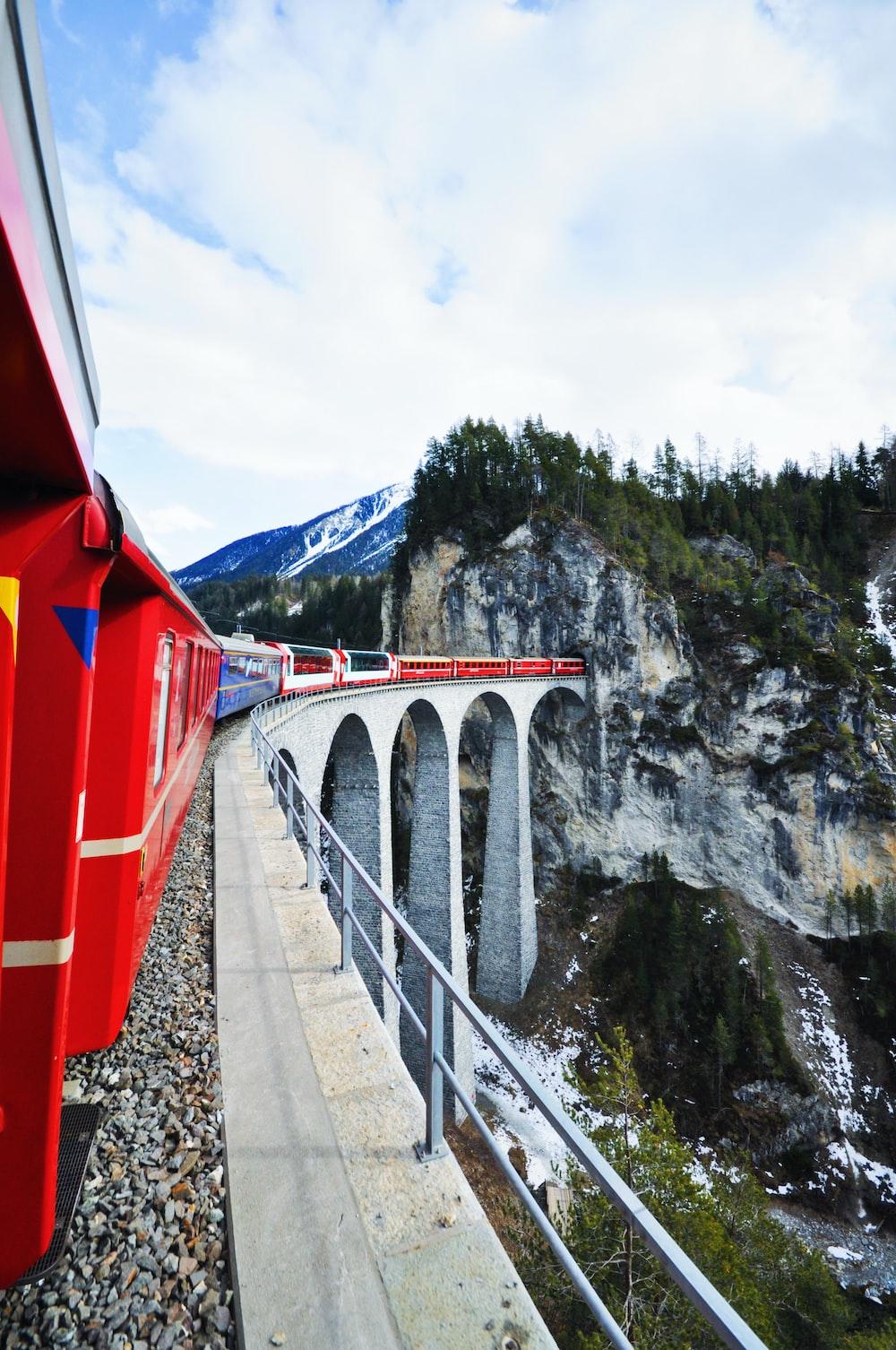scenery of mountain and bridge
