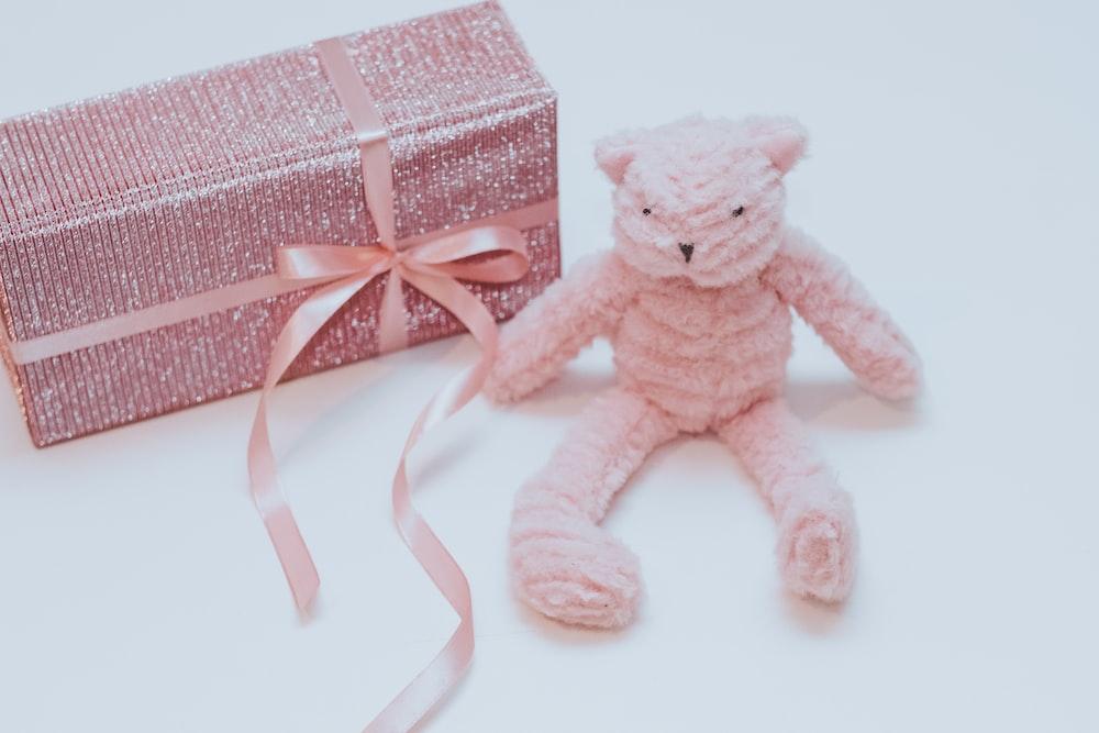 pink teddy bear beside gift box