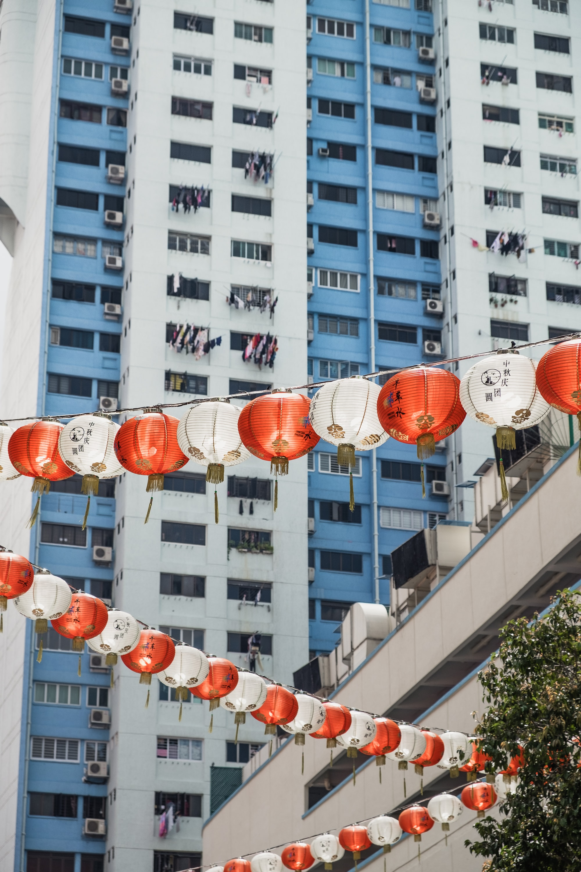 low-angle photography of paper lantern buntings