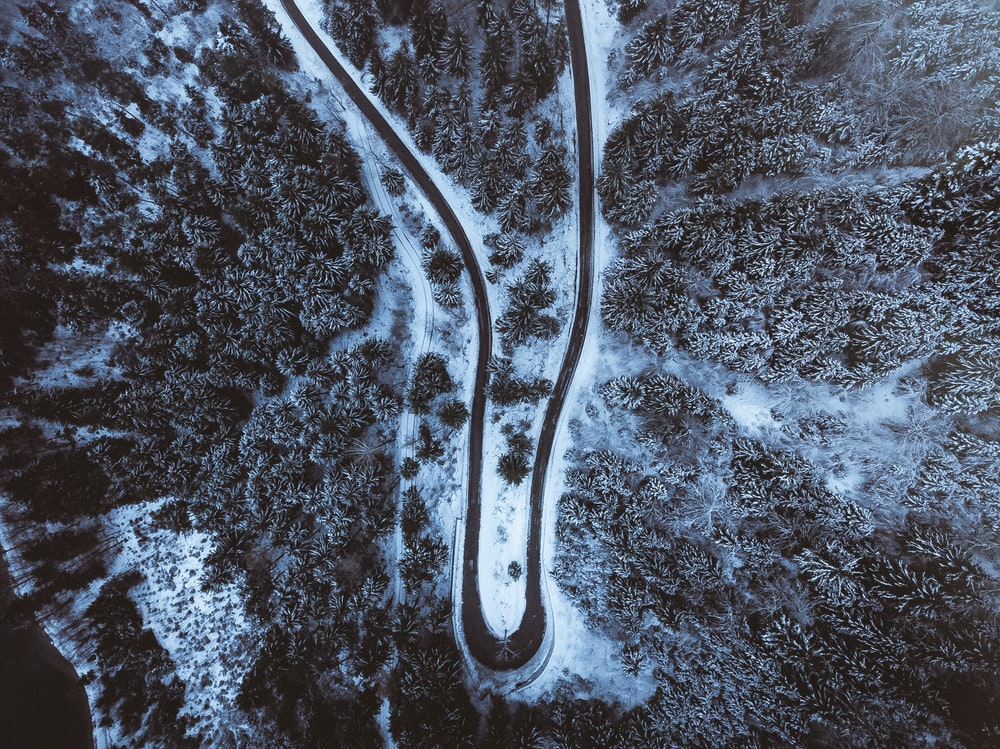 bird's-eye view of snow covered road
