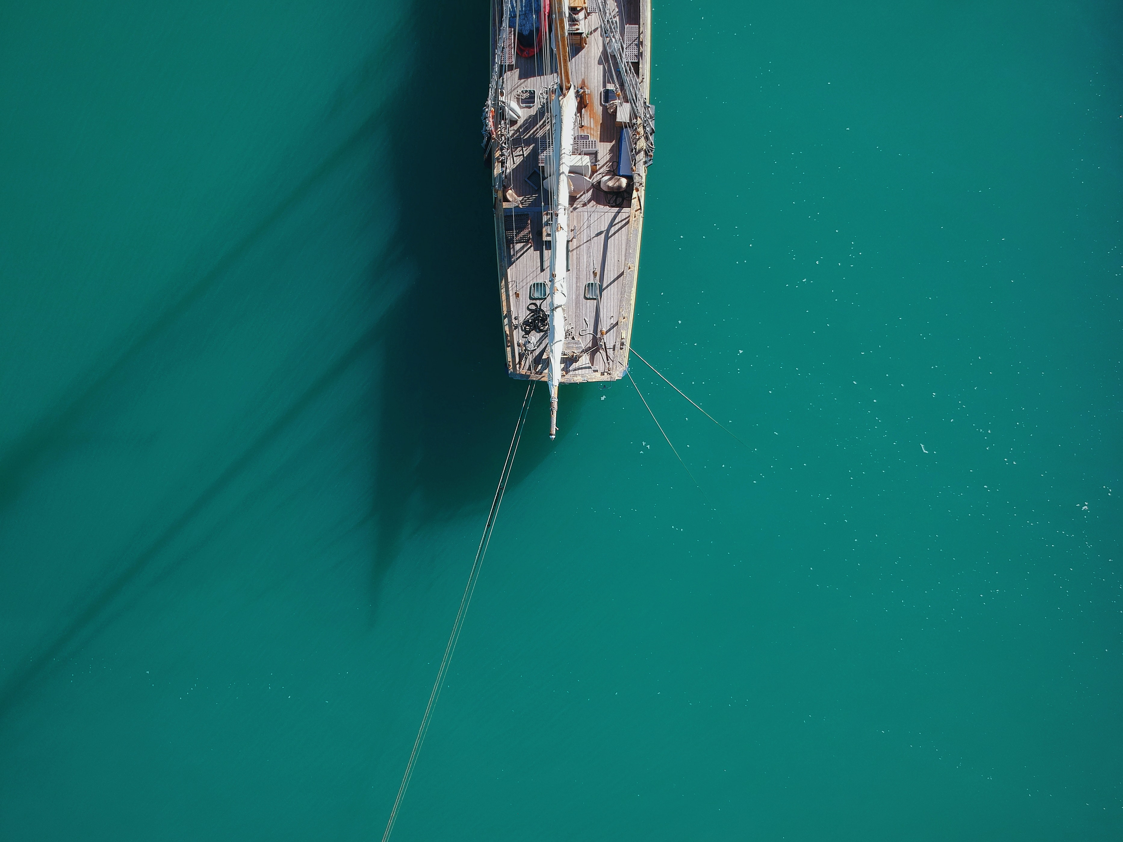aerial view of ship