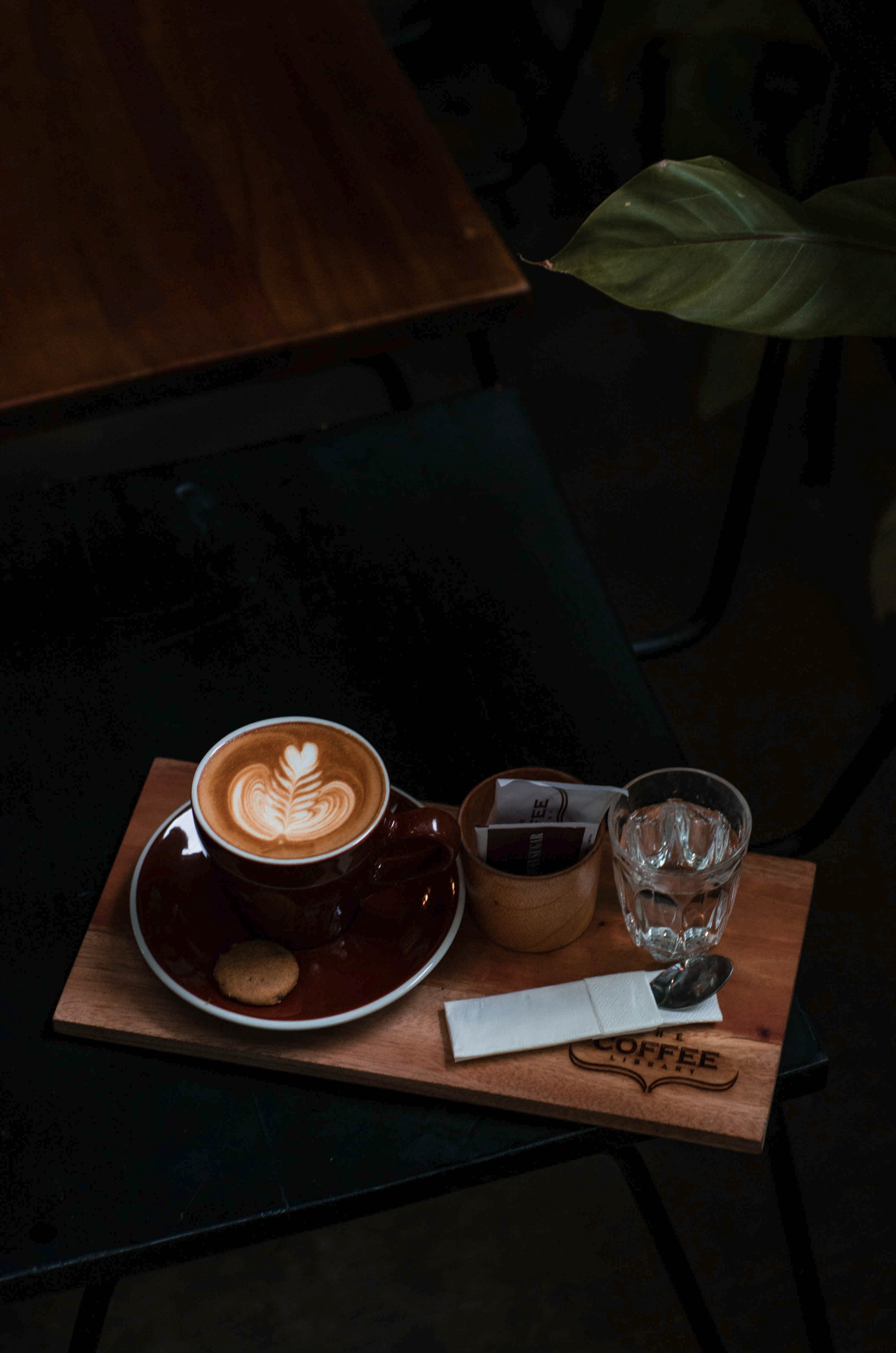 flat lay photography of flower latte set on tray