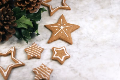 star cookies near acorn gingerbread zoom background