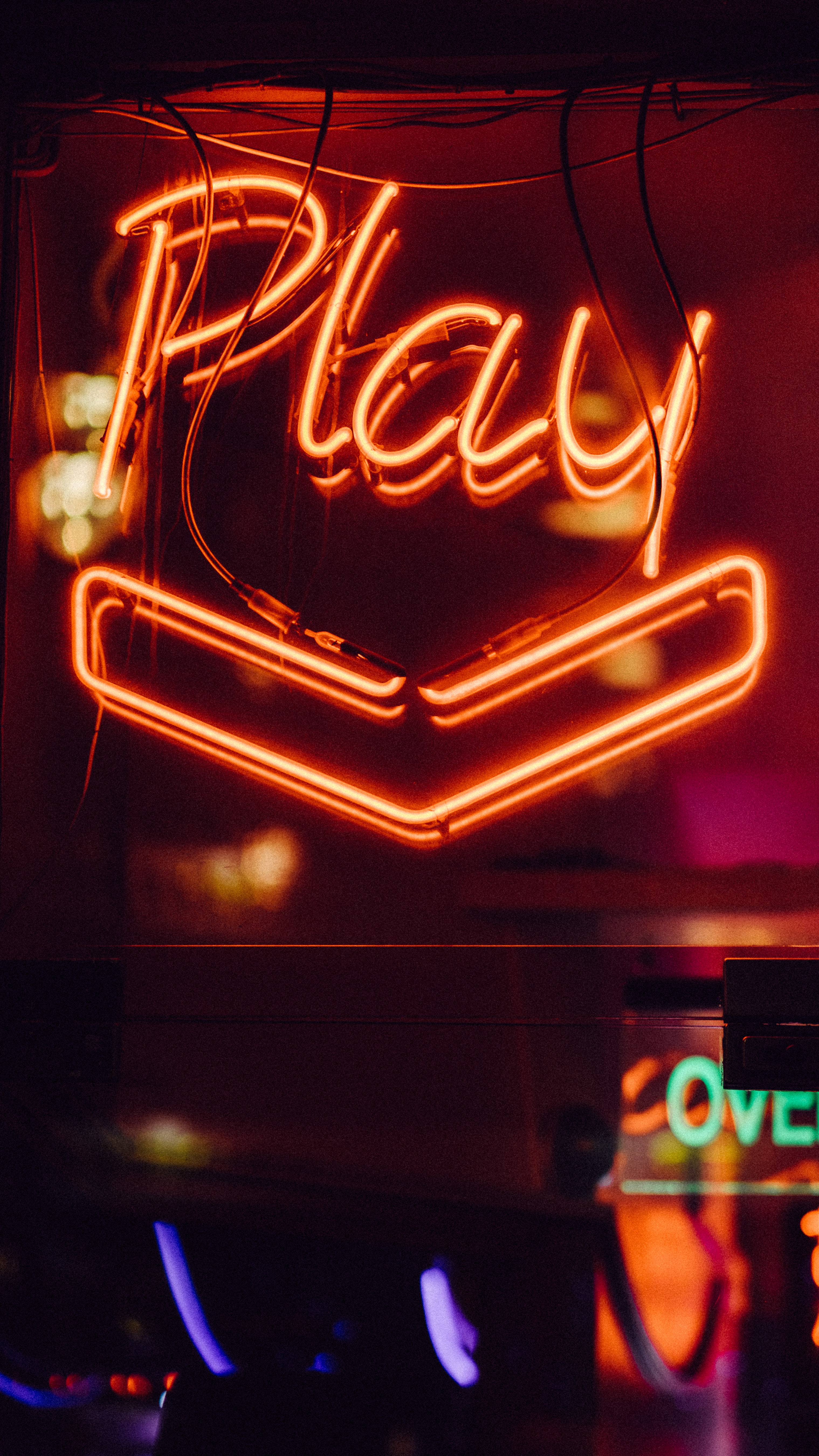 red Play neon light signage