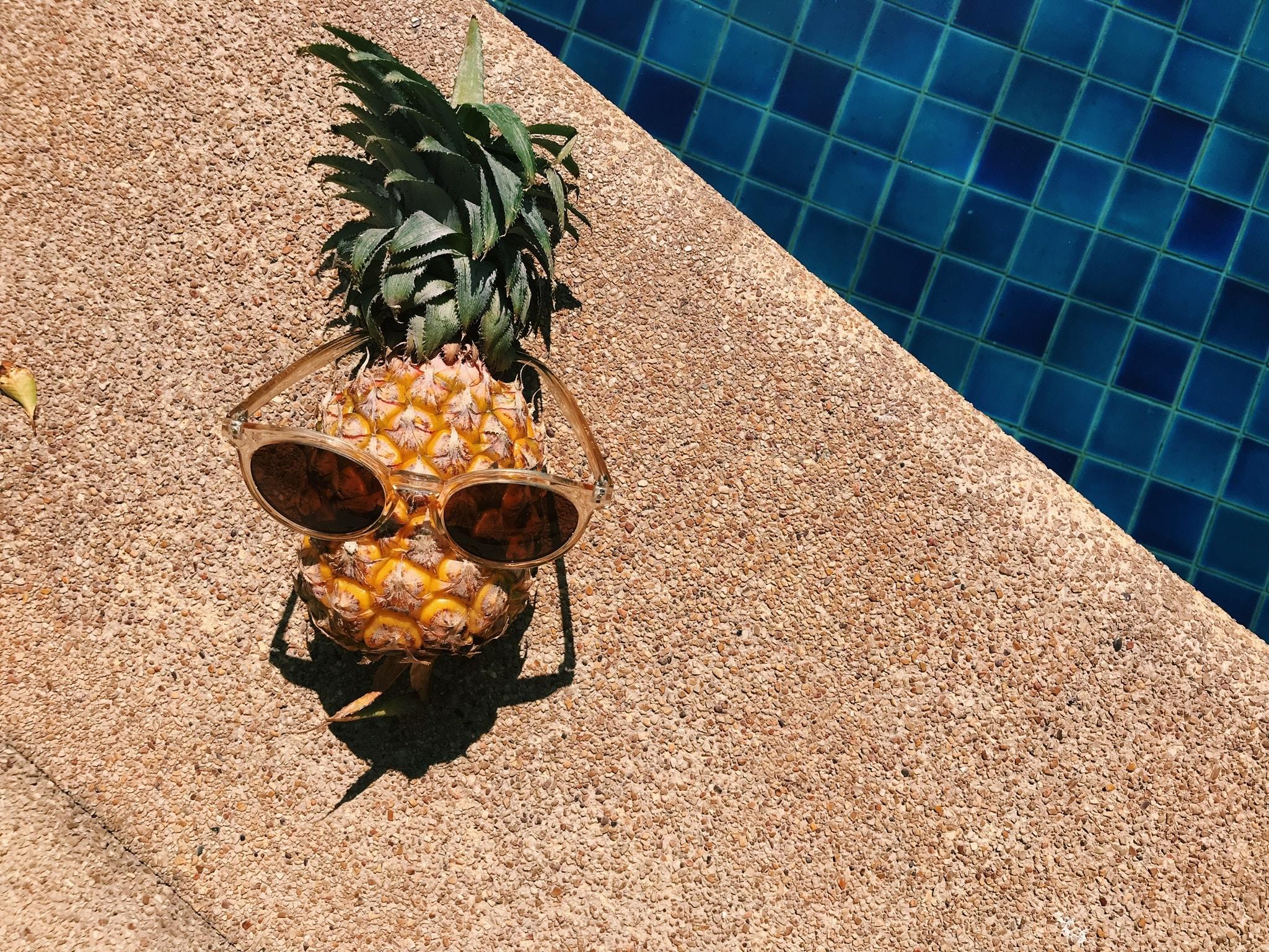 pineapple near the pool