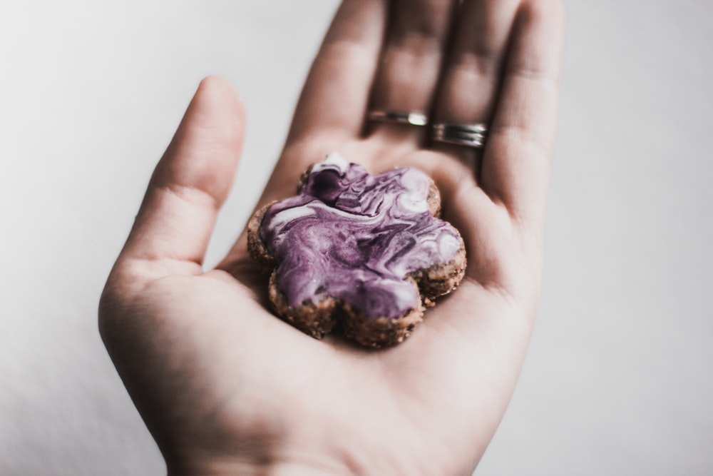 person holding baked cookie