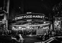 grayscale shot of Street Food Market
