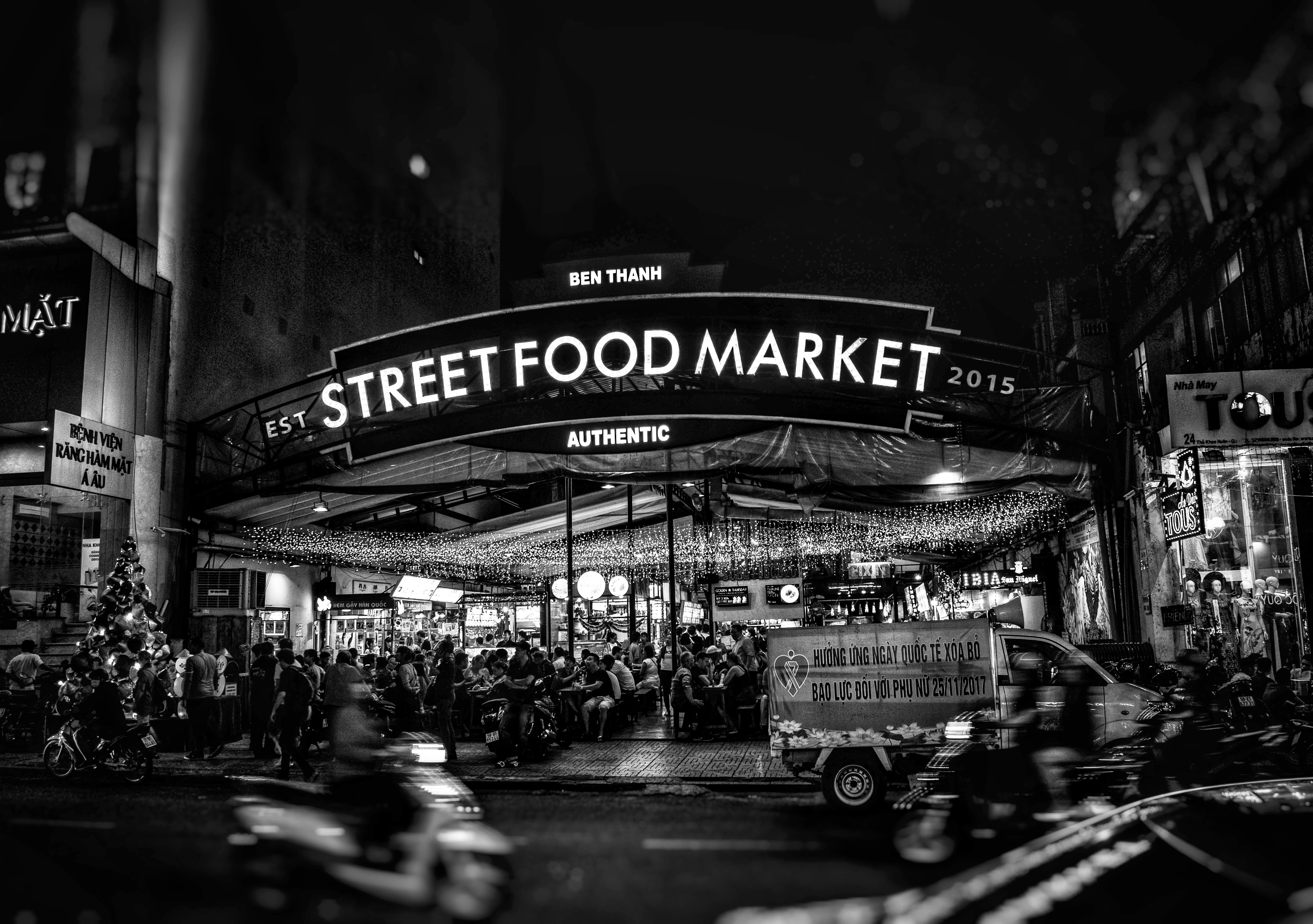 grayscale shot of Street Food Market