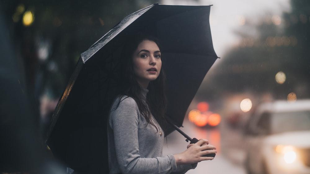 woman on the street holding umbrella