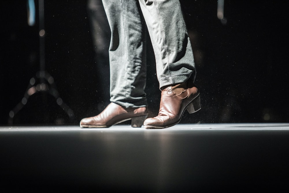person wearing brown leather heeled shoes