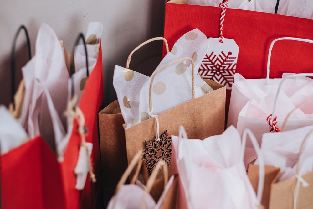 shallow focus photography of paper bags