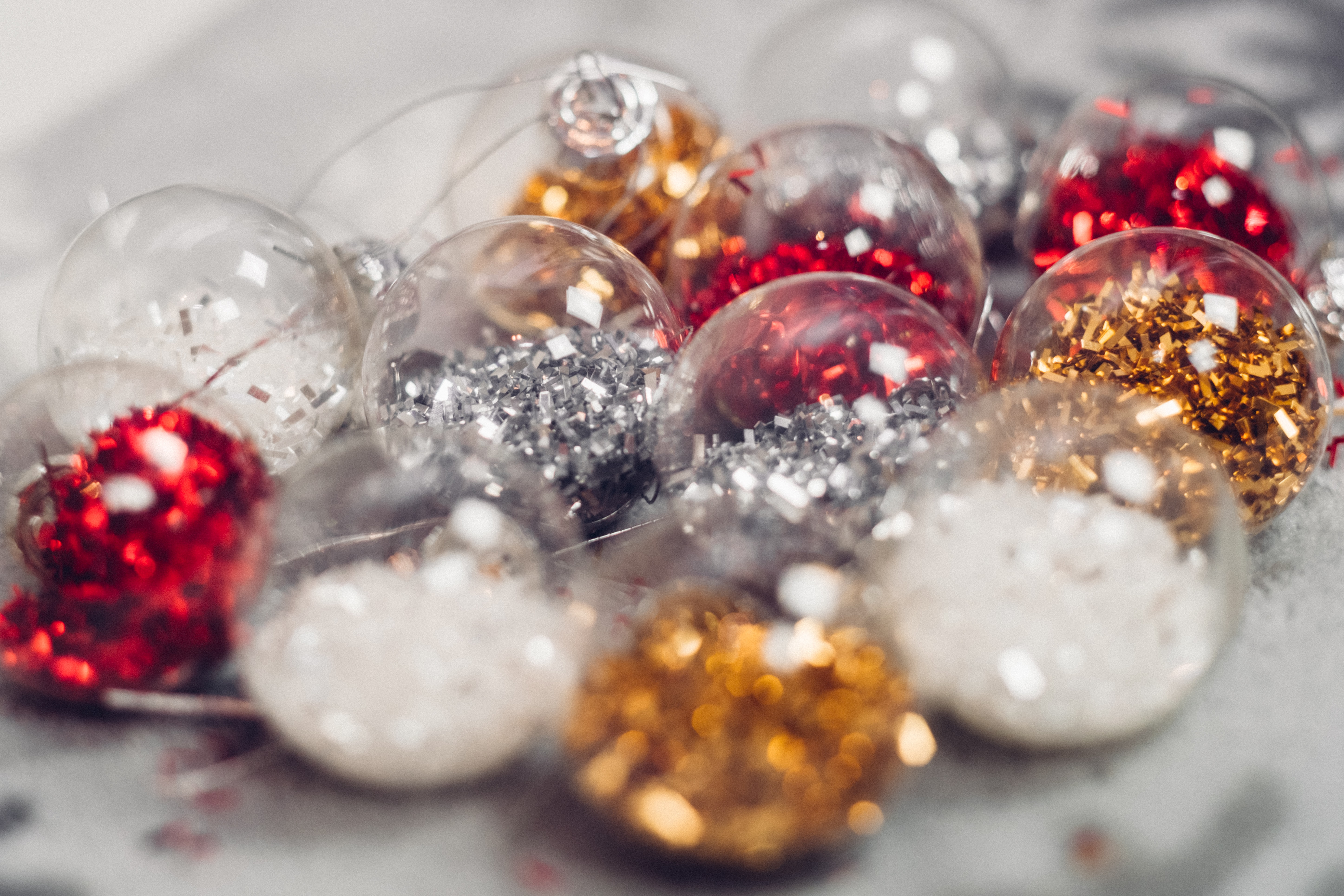 red, gold, white, and silver decorations