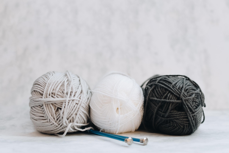 white, gray, and black yarns