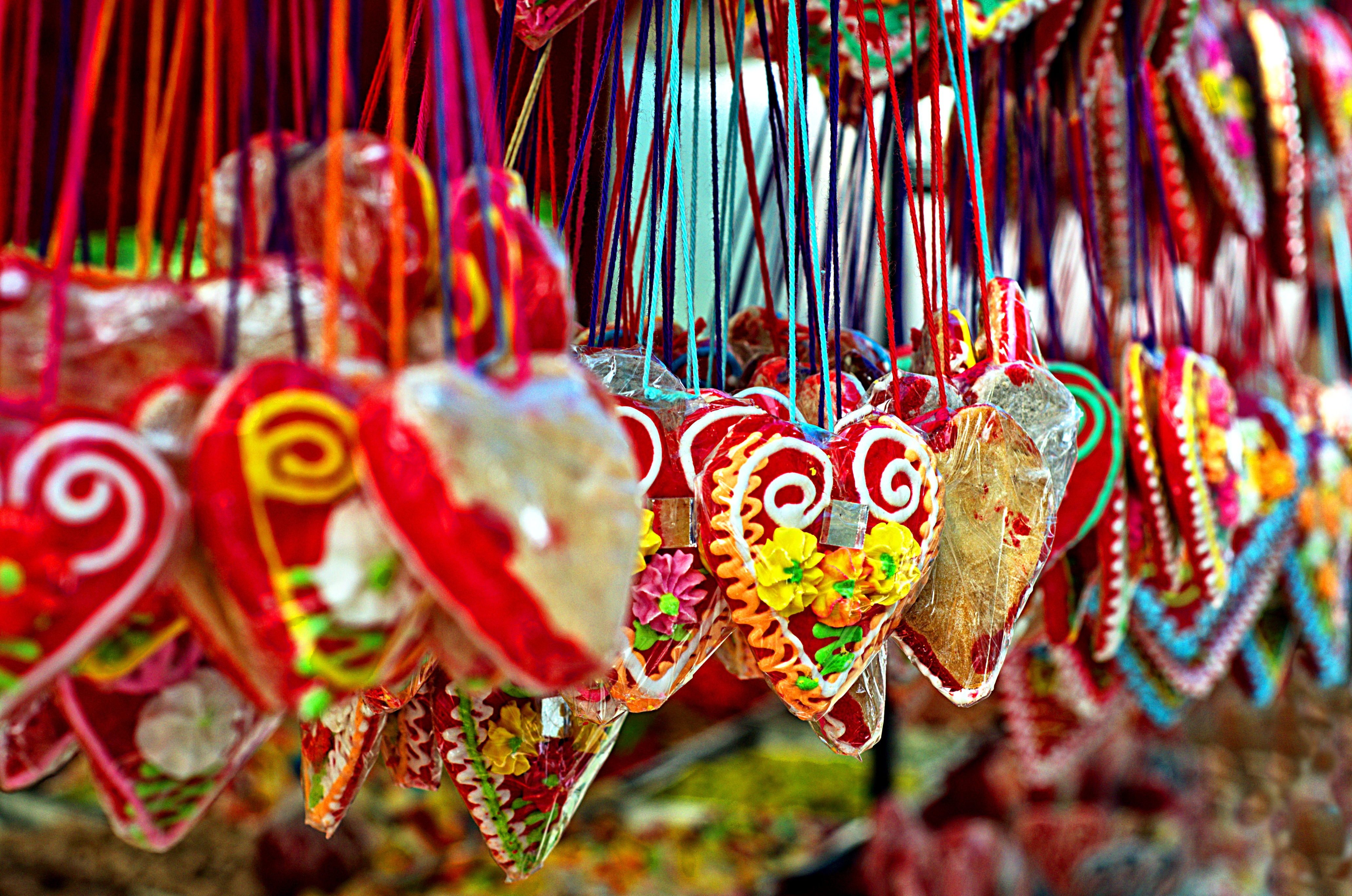 assorted-color heart hanging decors