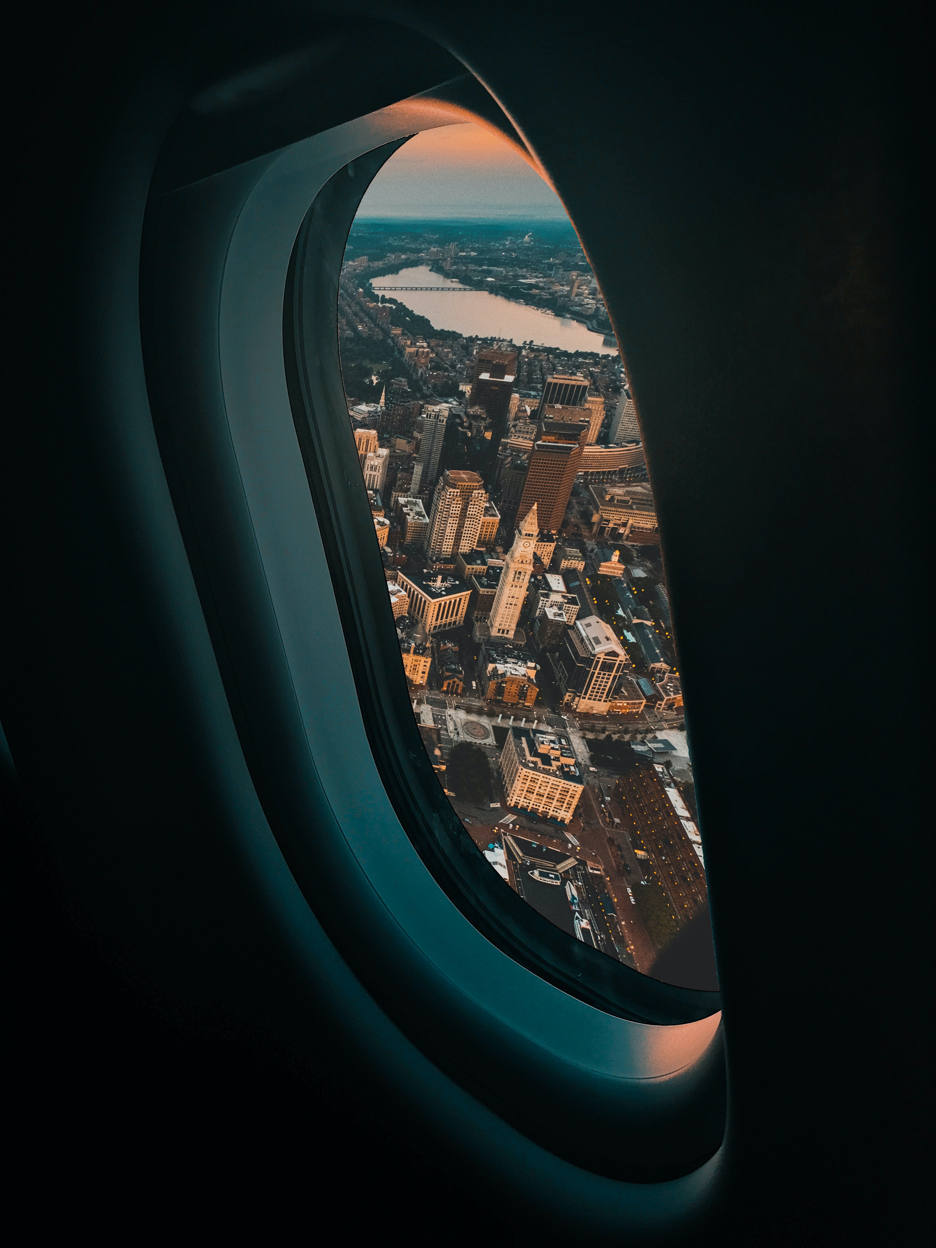 view of city buildings from plane window