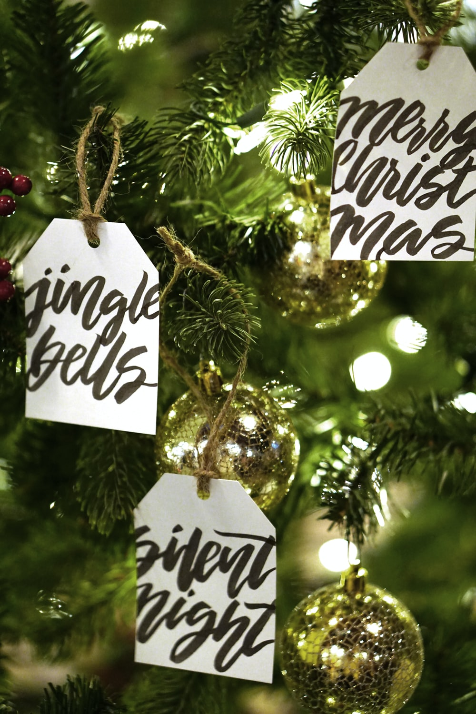 yellow string lights on Christmas tree